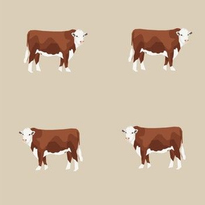 Hereford Cattle - cattle farm fabric