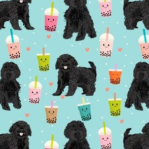 cavoodle black bubble tea dog breed fabric