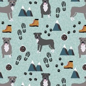 pitbull hiking dog breed fabric blue