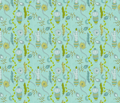 Mint Desert fabric by musingtreedesigns on Spoonflower - custom fabric