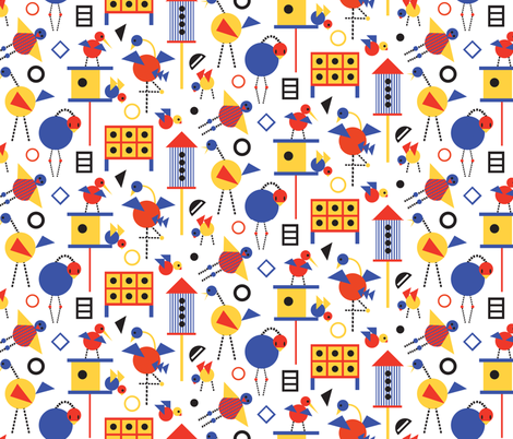 Bauhaus Birdhouses and Birds fabric by colour_angel_by_kv on Spoonflower - custom fabric