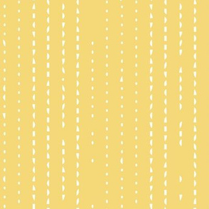 Yellow with intermittent white stripes.