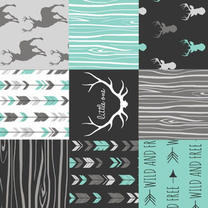 Patchwork Deer - custom grey and teal