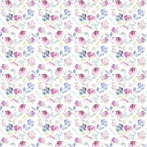 Watercolour Florals Vintage Faded Style on White EXTRA SMALL