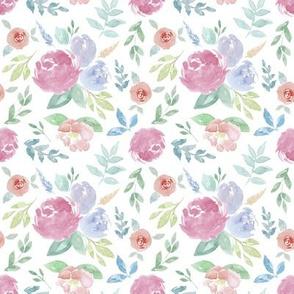 Rosie Watercolour Floral on White Small
