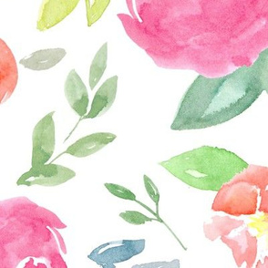 Vibrant Rosie Watercolour Floral on White Large