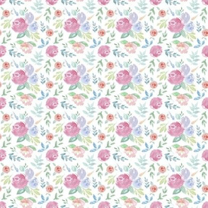Rosie Watercolour Floral on White EXTRA SMALL