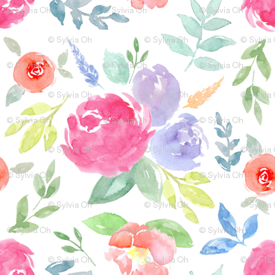 Vibrant Rosie Watercolour Floral on White Medium