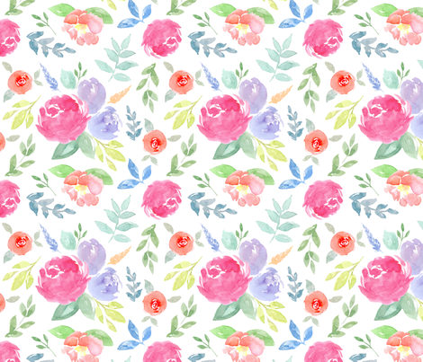Vibrant Rosie Watercolour Floral on White Medium fabric by sylviaoh on Spoonflower - custom fabric