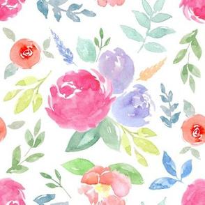 Vibrant Rosie Watercolour Floral on White Medium