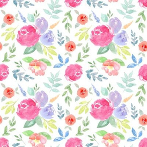 Vibrant Rosie Watercolour Floral on White Small