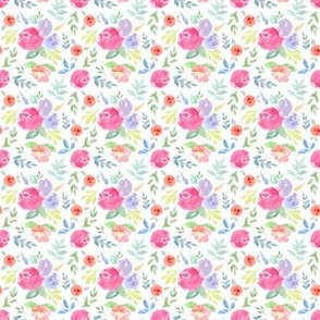 Vibrant Rosie Watercolour Floral on White EXTRA SMALL