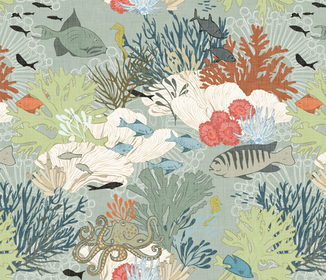 Coral Reef - Sage-Linen fabric by fernlesliestudio on Spoonflower - custom fabric
