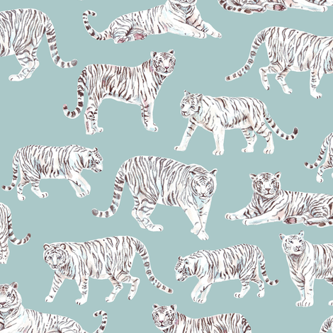 White Bengal Tiger | Teal Background fabric by imaginaryanimal on Spoonflower - custom fabric