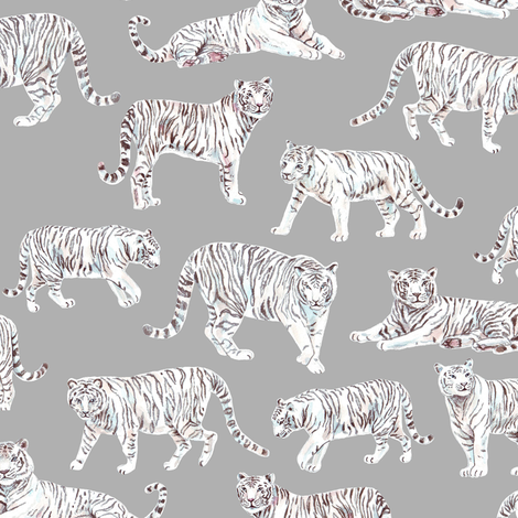 White Bengal Tiger | Grey Background fabric by imaginaryanimal on Spoonflower - custom fabric