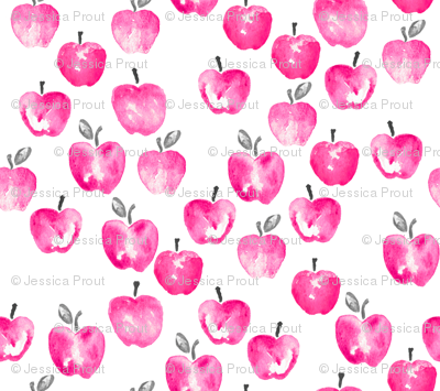 (small scale) watercolor apples - pink