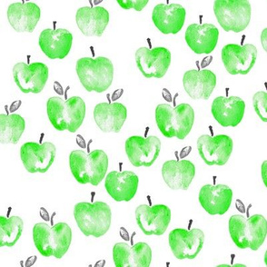 watercolor apples - green