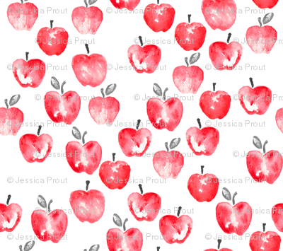 watercolor apples - red