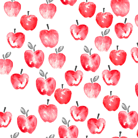watercolor apples - red  fabric by littlearrowdesign on Spoonflower - custom fabric