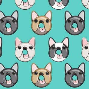 Frenchie - French Bulldog donuts (teal)