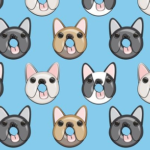 Frenchie - French Bulldog donuts (blue)