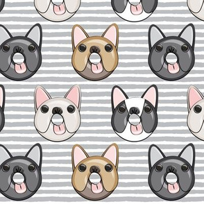 Frenchie - French Bulldog donuts (grey stripes)