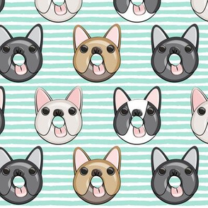 Frenchie - French Bulldog donuts (aqua stripes)