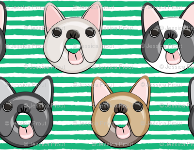 Frenchie - French Bulldog donuts (green stripes)