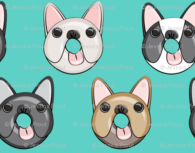 (small scale) Frenchie - French Bulldog donuts (teal)