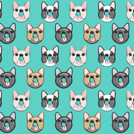 (small scale) Frenchie - French Bulldog donuts (teal) fabric by littlearrowdesign on Spoonflower - custom fabric