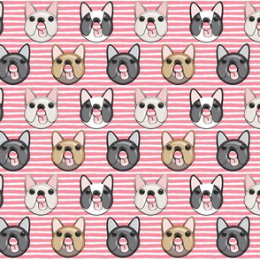 (small scale) Frenchie - French Bulldog donuts (pink stripes)