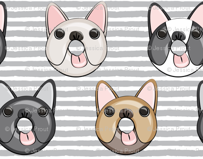 (small scale) Frenchie - French Bulldog donuts (grey stripes)