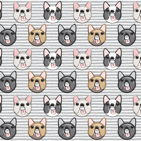 (small scale) Frenchie - French Bulldog donuts (grey stripes) fabric by littlearrowdesign on Spoonflower - custom fabric