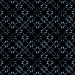 Blue Floral Heart Lace 3 inch repeat on black