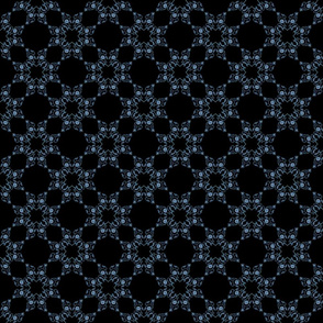 Blue Floral Heart Lace 4 inch repeat on black