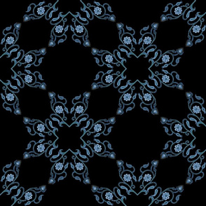 Blue Floral Heart Lace 12 inch repeat on black