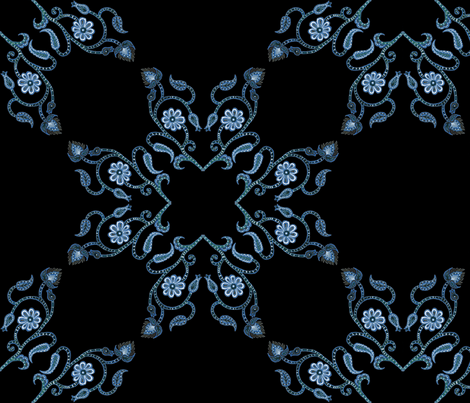 Blue Floral Heart Lace 18 inch repeat on black fabric by nightshaderose_studio on Spoonflower - custom fabric