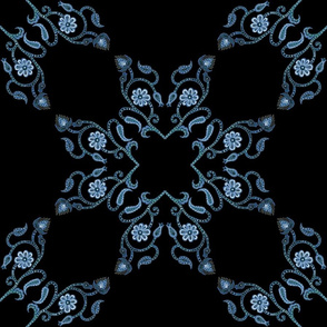 Blue Floral Heart Lace 18 inch repeat on black