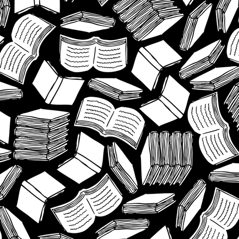 So Many Books (Black and White) fabric by robyriker on Spoonflower - custom fabric