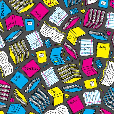 Hit the Books (Cyan, Magenta, Yellow, Black) fabric by robyriker on Spoonflower - custom fabric