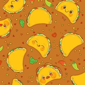 Taco Pattern Brown - Larger Print