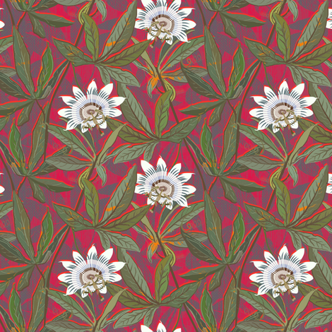 Passion flower on red fabric by susiprint on Spoonflower - custom fabric