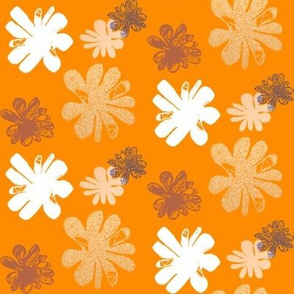 Flower blossom on orange background
