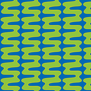 Groovy 70s double swirl blue green yellow