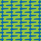 Groovy 70s 2d double swirl blue green yellow