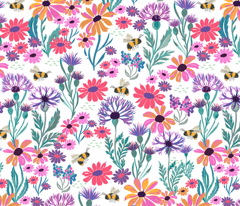 Bees and Thistles fabric by jill_o_connor on Spoonflower - custom fabric