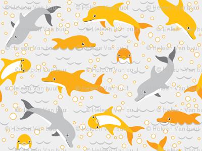 happy dolphins on grey