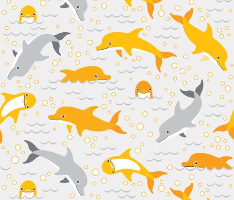 happy dolphins on grey fabric by heleenvanbuul on Spoonflower - custom fabric