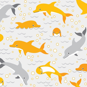 happy dolphins on grey