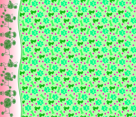 Frolicking Poodles (2018) fabric by thegreenpoodle on Spoonflower - custom fabric